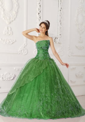Lovely Green Puffy Strapless with Beading Quinceanera Dress for 2014