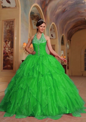 Lovely Spring Green Puffy Halter for 2014 Quinceanera Dress with Beading and Embroidery