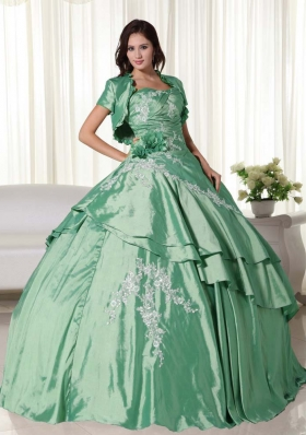 New Style Puffy Strapless Appliques for Green Quinceanera Dress for 2014