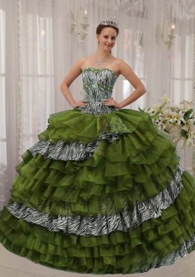 Olive Puffy Sweetheart with Layers and Beading for 2014 Quinceanera Dress