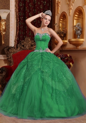 Petty Green Puffy Sweetheart with Beading and Appliques for 2014 Quinceanera Dress