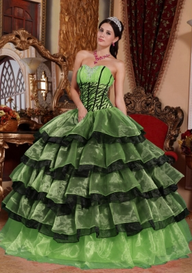 Puffy Sweetheart Decorate for 2014 Green and Black Quinceanera Dress with Layers