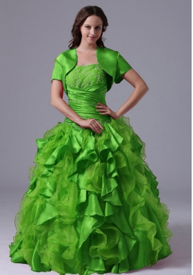 The Super Hot Puffy Green Ruffles and Beading Decorate Bust Quinceanera Dress