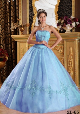 2014 Cheap Beautiful Puffy Strapless Appliques Quinceanera Dresses