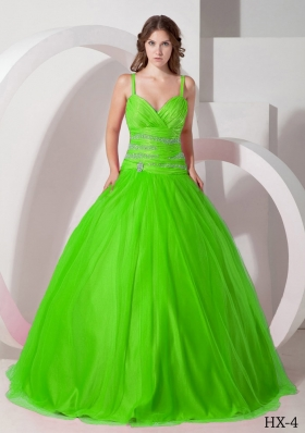 2014 Cute Puffy Spaghetti Straps with Beading for Green Quinceanera Dress