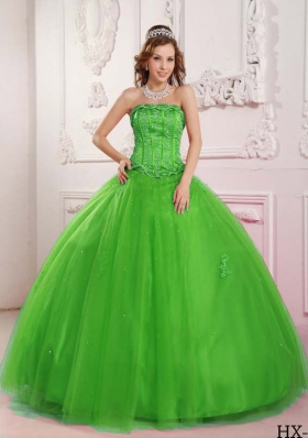 2014 Elegant Puffy Strapless Spring Green Quinceanera Dress with Appliques and Beading
