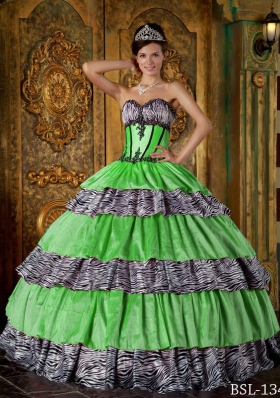 2014 Luxurious Puffy Sweetheart Zebra Quinceanera Dress with Layers