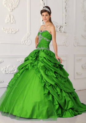 2014 Pretty Green Princess Sweetheart Appliques Quinceanera Dress with Beading