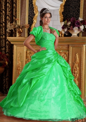 2014 Pretty Green Puffy Sweetheart with Appliques Taffeta Quinceanera Dress