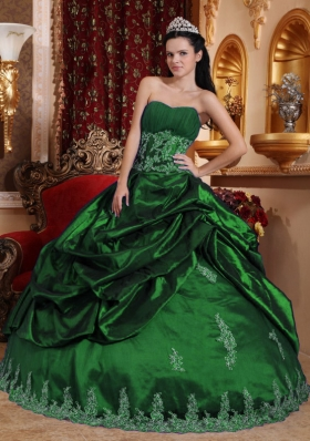 2014 Pretty Hunter Green Puffy Sweetheart Appliques Quinceanera Dress with Pick-ups