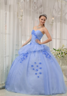 2014 Pretty Light Blue Puffy Sweetheart Appliques Quinceanera Dresses