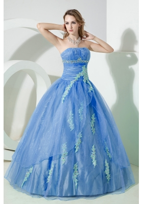 2014 Puffy Pretty Strapless Beading and Embroidery Quinceanera Dresses