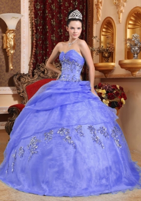 2014 Puffy Sweetheart Appliques and Beading Quinceanera Dresses with Pick-ups