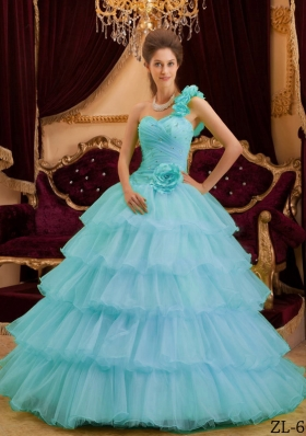 2014 Spring Affordable One Shoulder Ruffles Layers Quinceanera Dresses