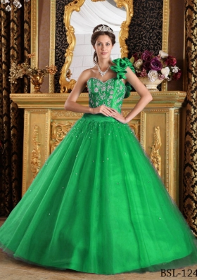 Brand New Green Princess One Shoulder with Beading Quinceanera Dress for 2014