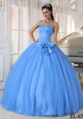 Classical Blue Puffy Sweetheart Beading and Bowknot Sweet 16 Dresses for 2014