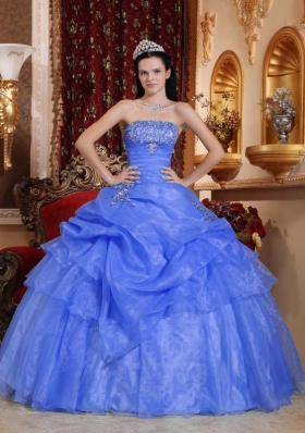 Classical Puffy Strapless Beading 2014 Quinceanera Dresses with Pick-ups
