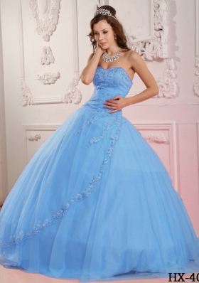 Classical Puffy Sweetheart Appliques 2014 Quinceanera Dresses in Baby Blue