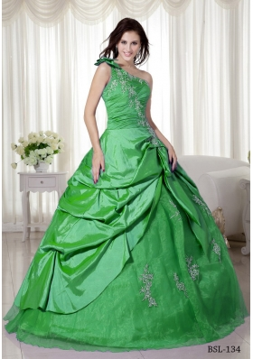 Elegant Puffy One Shoulder with Pick-ups and Appliques for 2014 Quinceanera Dress