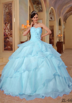 Elegant Quinceanera Dress in Light Blue Sweetheart with Beading for 2014