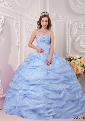 Exclusive Puffy Strapless 2014 Appliques Quinceanera Dresses with Pick-ups