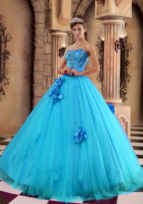 Exclusive Puffy Strapless Hand Made Flower and Beading 2014 Quinceanera Dresses