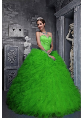 Exclusive Sweetheart Green for 2014 Quinceanera Dress with Ruffles and Beading