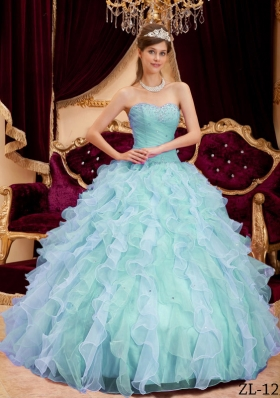 Exquisite Puffy Sweetheart 2014 Beading Quinceanera Dresses with Pleats
