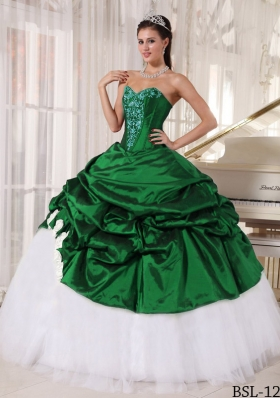 Exquisite Puffy Sweetheart with Pick-ups Appliques Quinceanera Dress for 2014