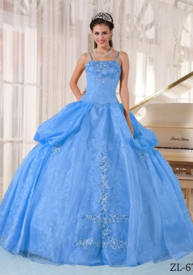 Gorgeous Blue Puffy Spaghetti Straps Appliques Quinceanera Dress for 2014