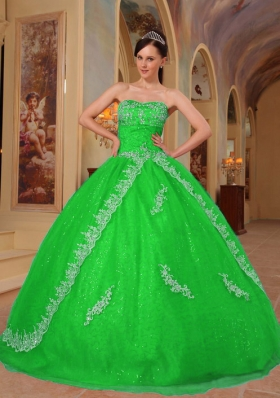 Green Puffy Sweetheart with Embroidery and Beading Quinceanera Dress for 2014