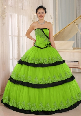 Lace Custom Made For 2014 Spring Green and Black Quinceanera Dress with Ruffled Layers