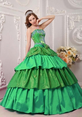 Modest Puffy Strapless with Layers and Appliques for 2014 Quinceanera Dress