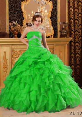 Perfect Green Puffy with Beading and Ruffles Quinceanera Dress for 2014