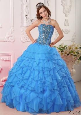 Popular Aqua Blue Puffy Sweetheart Ruffles and Beading Quinceanera Dresses for 2014