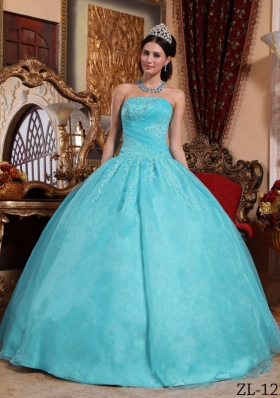 Pretty Puffy Strapless for 2014 Appliques Quinceanera Gowns with Beading