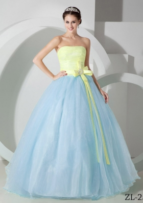 Puffy Strapless Organza Sashes and Ruching Quinceanea Dress For 2014