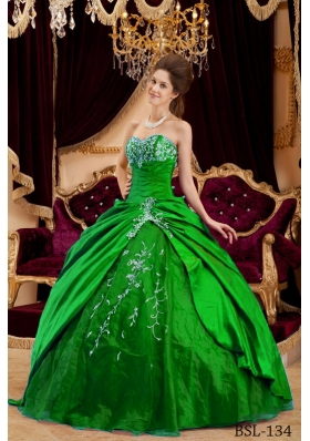 Romantic Green Puffy Sweetheart for 2014 Appliques Quinceanera Dress with Beading
