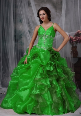 Sweet Green Puffy Straps Beading for 2014 Quinceanera Dress with Ruffles