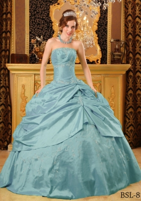 Vintage Blue Puffy Strapless Beading Quinceanera Dresses With Pick-ups