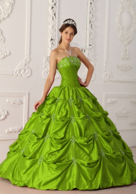2014 Affordable Olive Green Puffy Strapless with Appliques and Beading Quinceanera Dress