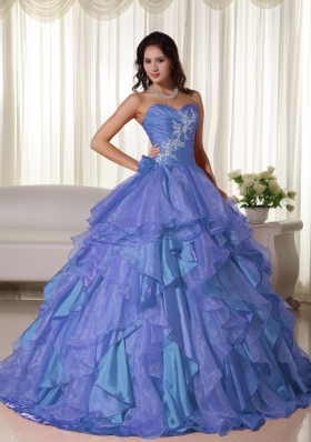 2014 Beautiful Puffy Sweetheart Appliques Quinceanera Dresses with Ruffles