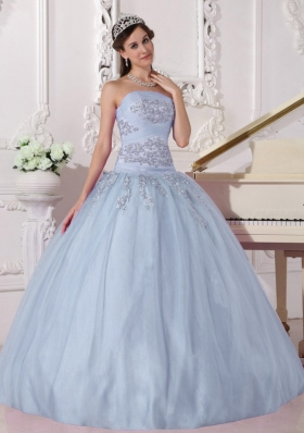 2014 Brand New Light Blue Puffy Strapless Beading Quinceanera Dresses with Appliques