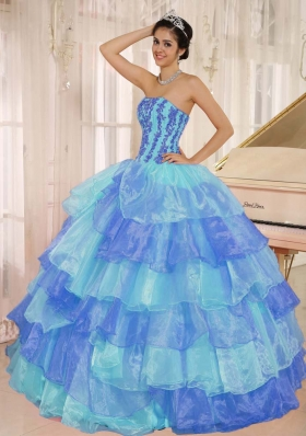 2014 Customize Ruffled Layers and Appliques Quinceanera Dresses with Strapless