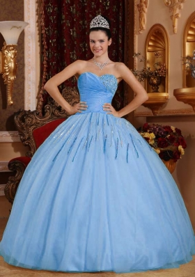 2014 Gorgeous Light Blue Puffy Sweetheart Beading Quinceanera Dresses