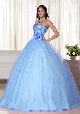 2014 Gorgeous Light Blue Sweetheart Quinceanera Dresses with Hand Made Flower