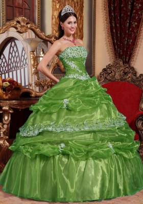 2014 Green Puffy Strapless Appliques Quinceanera Dress with Pick-ups