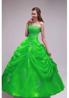 2014 Green Puffy Strapless Orangza Quinceanera Dress with Pick-ups and Applqiues