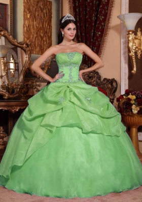 2014 Green Puffy Strapless with Appliques and Beading Quinceanera Dress