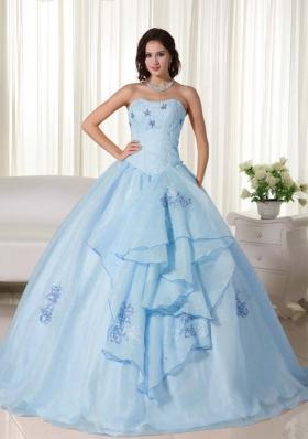 2014 New Style Puffy Strapless Embroidery Quinceanera Dresses with Ruffles